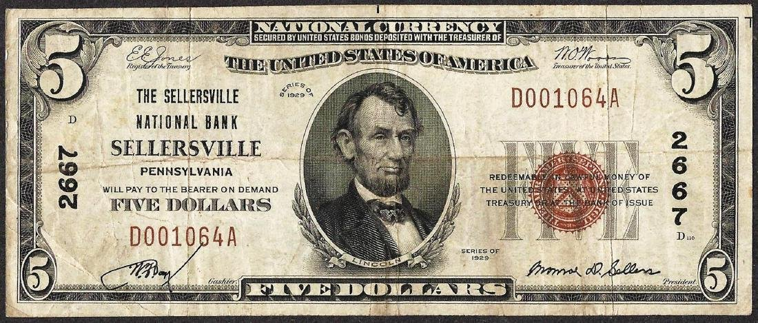 1929 $5 NB of Sellersville, Pennsylvania CH# 2667