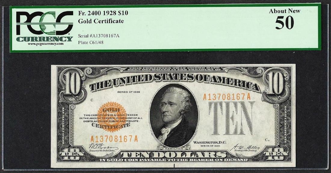 1928 $10 Gold Certificate Note Fr.2400 PCGS About New