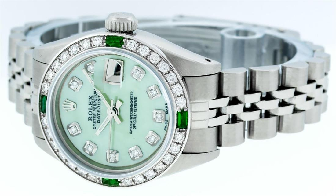 Rolex Ladies Stainless Steel Green MOP Diamond Datejust - 4