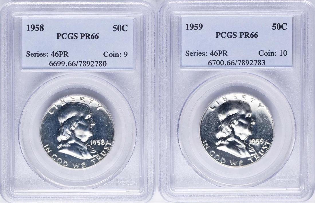 Lot of 1958-1959 Proof Franklin Half Dollar Coins PCGS