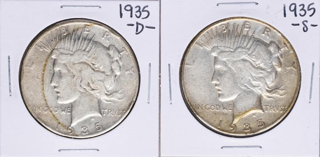 Lot of 1935-S & 1935-D $1 Peace Silver Dollar Coins
