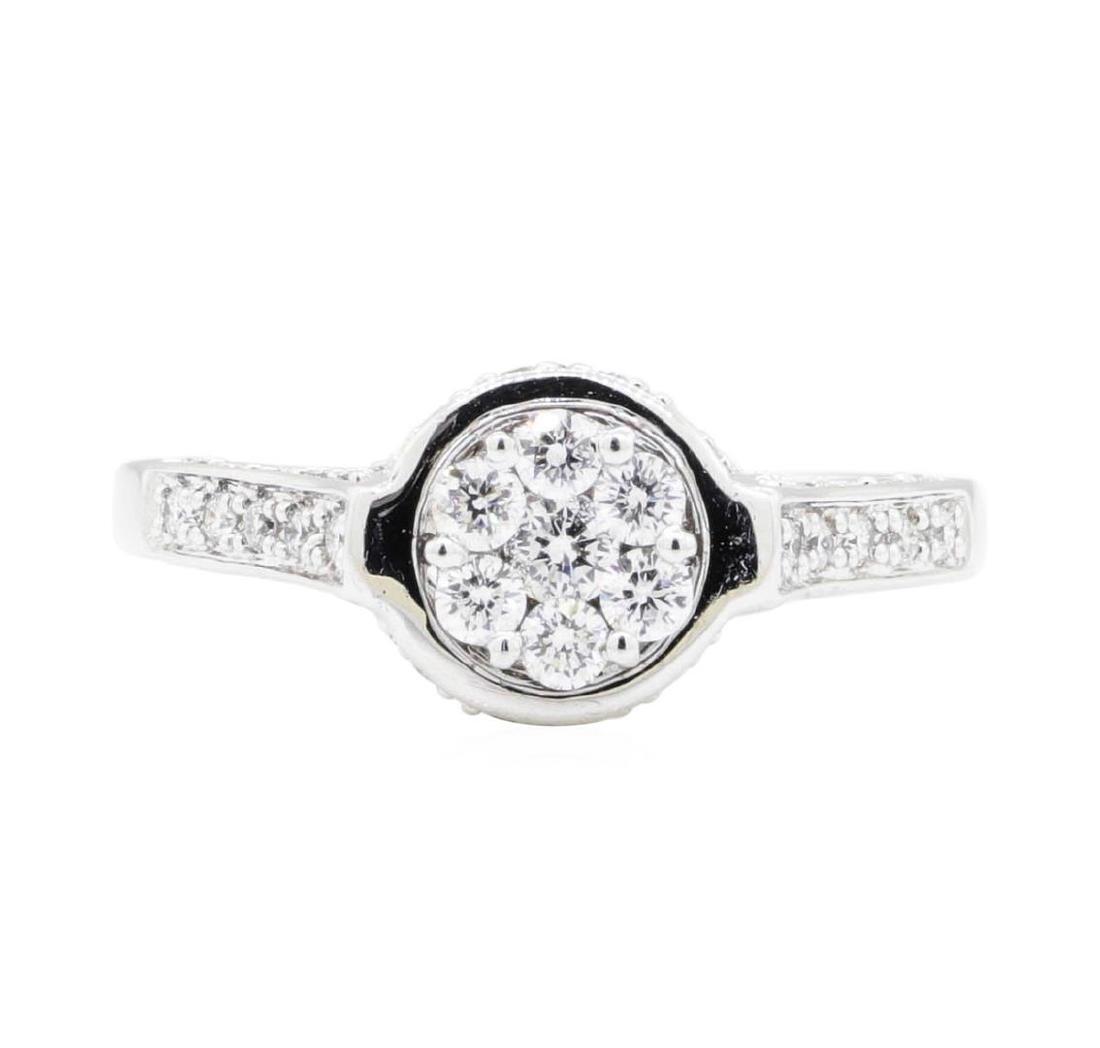 18KT White Gold 0.62 ctw Diamond Wedding Ring - 2