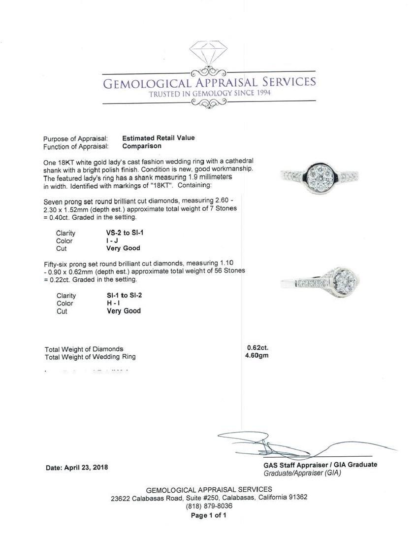18KT White Gold 0.62 ctw Diamond Wedding Ring - 5