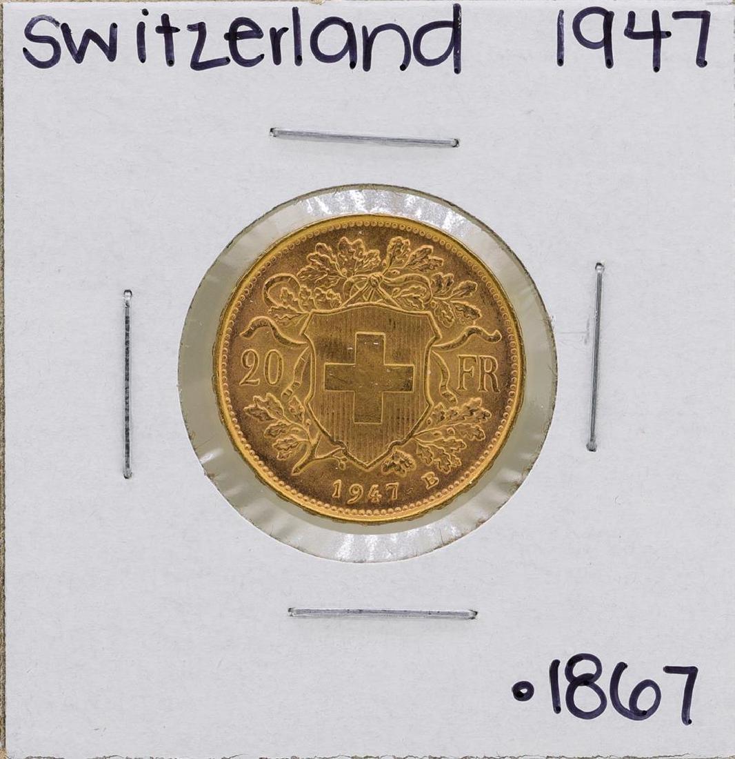 1947-B Switzerland 20 Francs Gold Coin