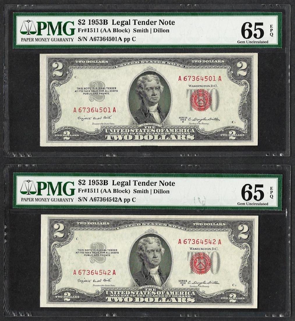 Lot of (2) 1953B $2 Legal Tender Notes Fr.1511 PMG Gem