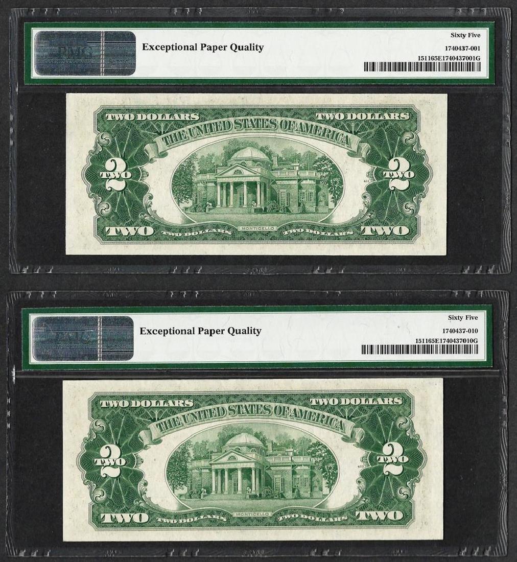 Lot of (2) 1953B $2 Legal Tender Notes Fr.1511 PMG Gem - 2
