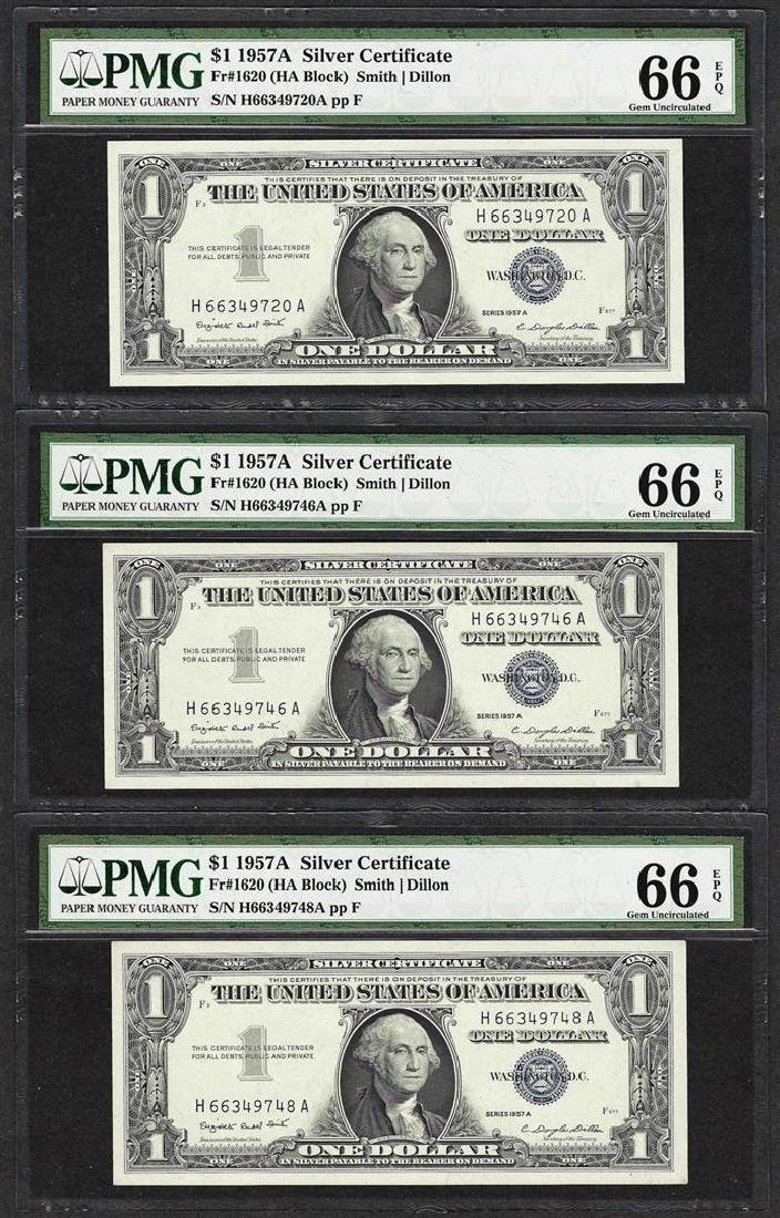 Lot of (3) 1957A $1 Silver Certificate Notes Fr.1620
