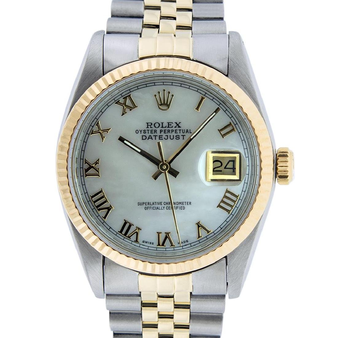 Rolex Men's Two Tone 14K Mother Of Pearl Roman Datejust