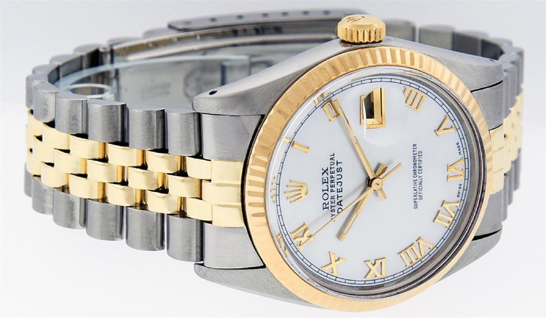 Rolex Men's Two Tone 14K Mother Of Pearl Roman Datejust - 3