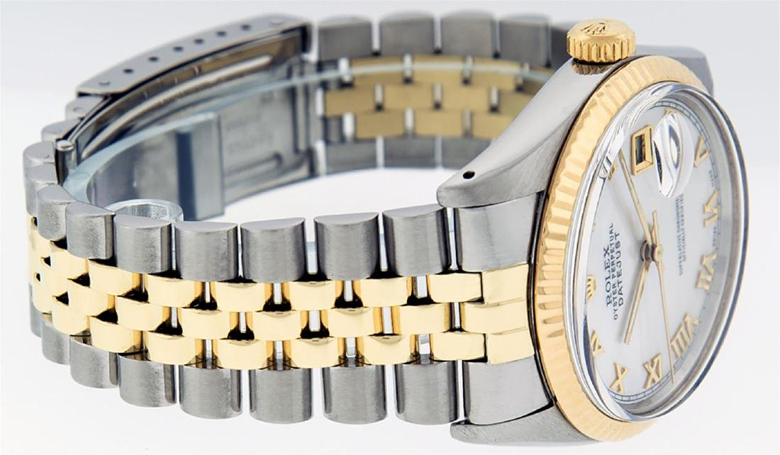 Rolex Men's Two Tone 14K Mother Of Pearl Roman Datejust - 4