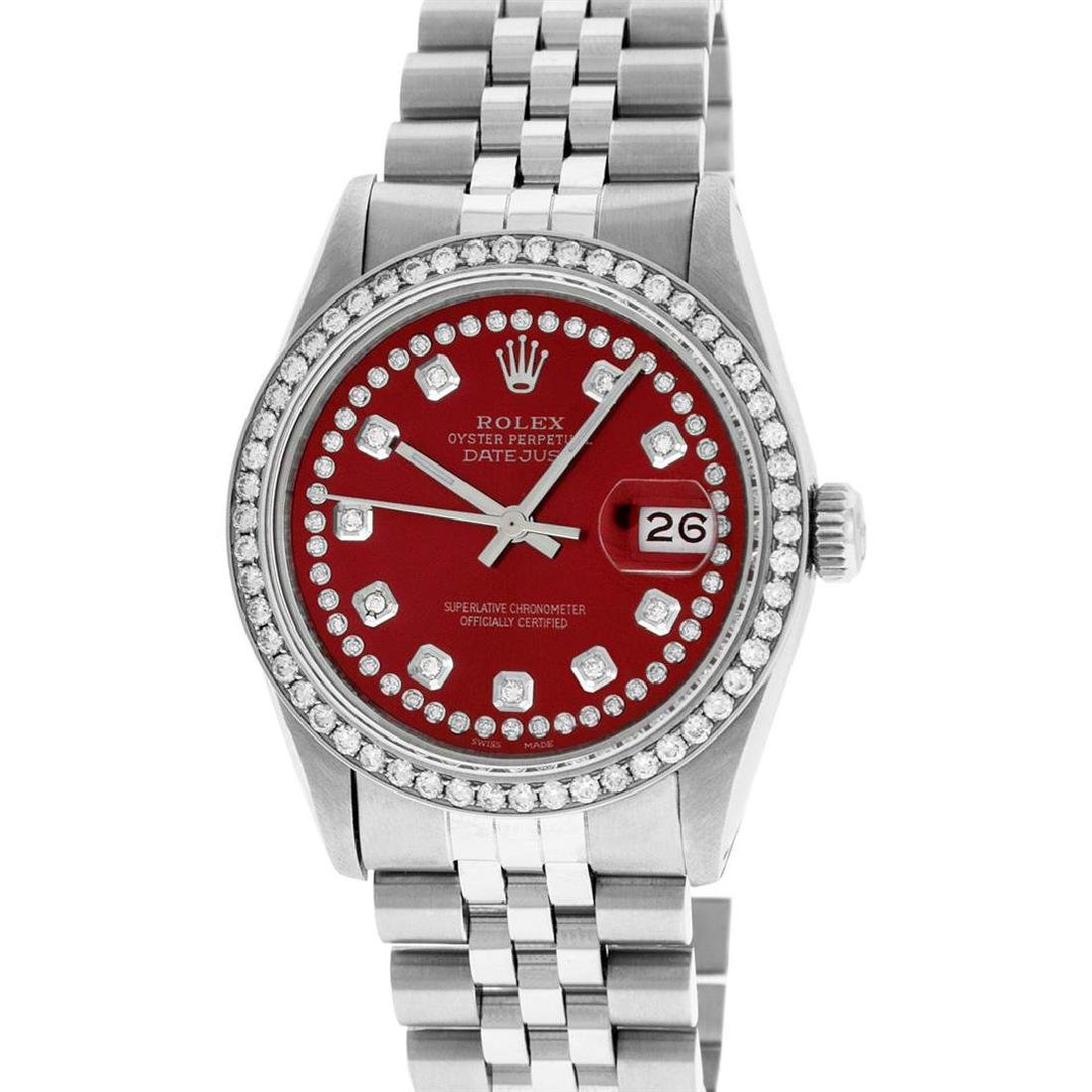 Rolex Men's Stainless Steel Red String Diamond 36MM - 2