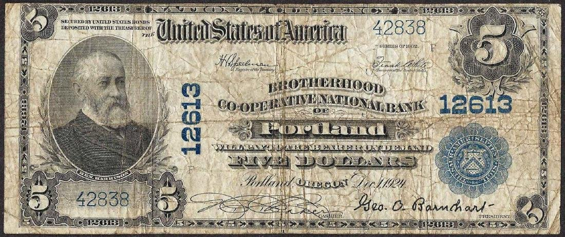 1902 $5 National Currency Note Brotherhood Co-Operative