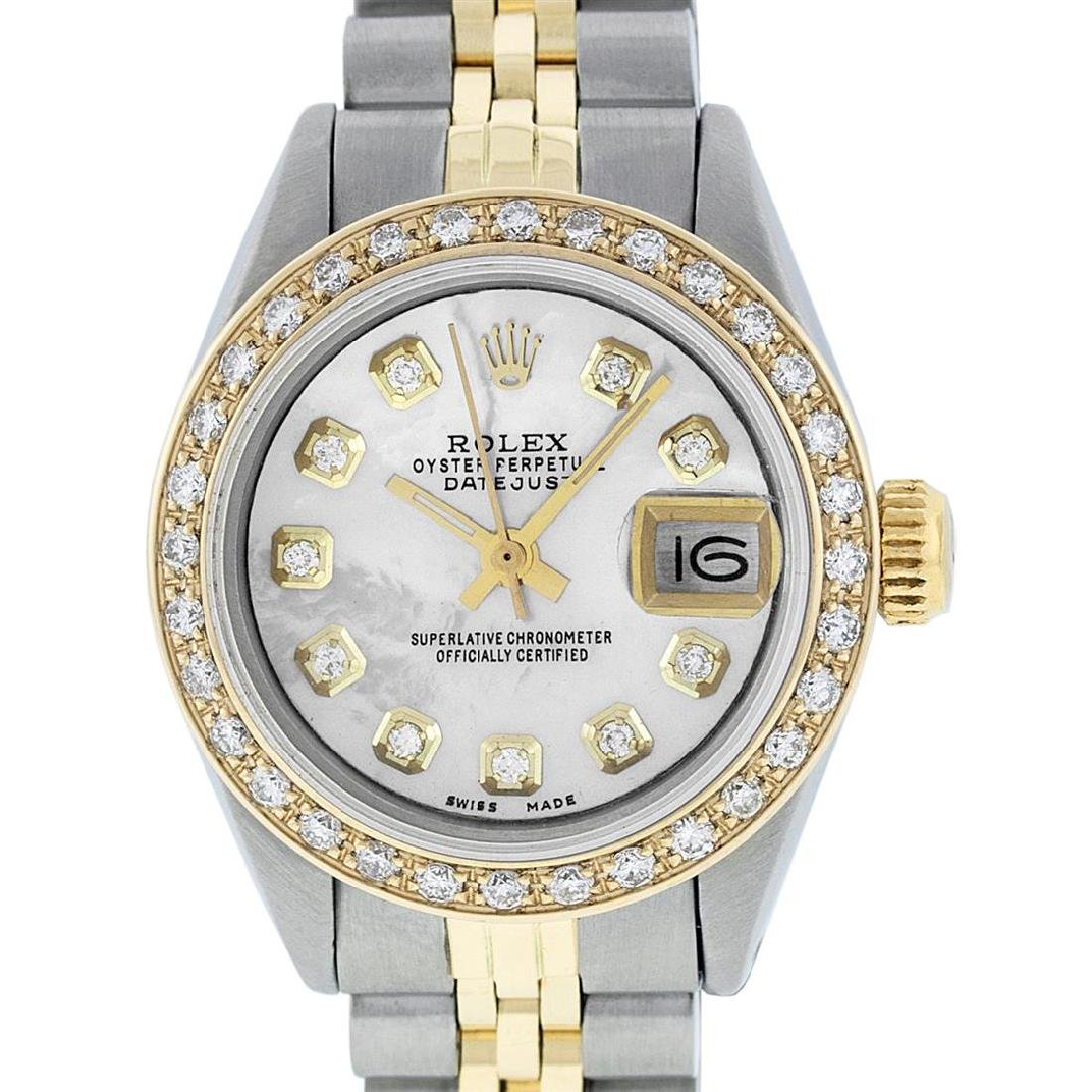 Rolex Ladies Two Tone 14K MOP Diamond Datejust Watch