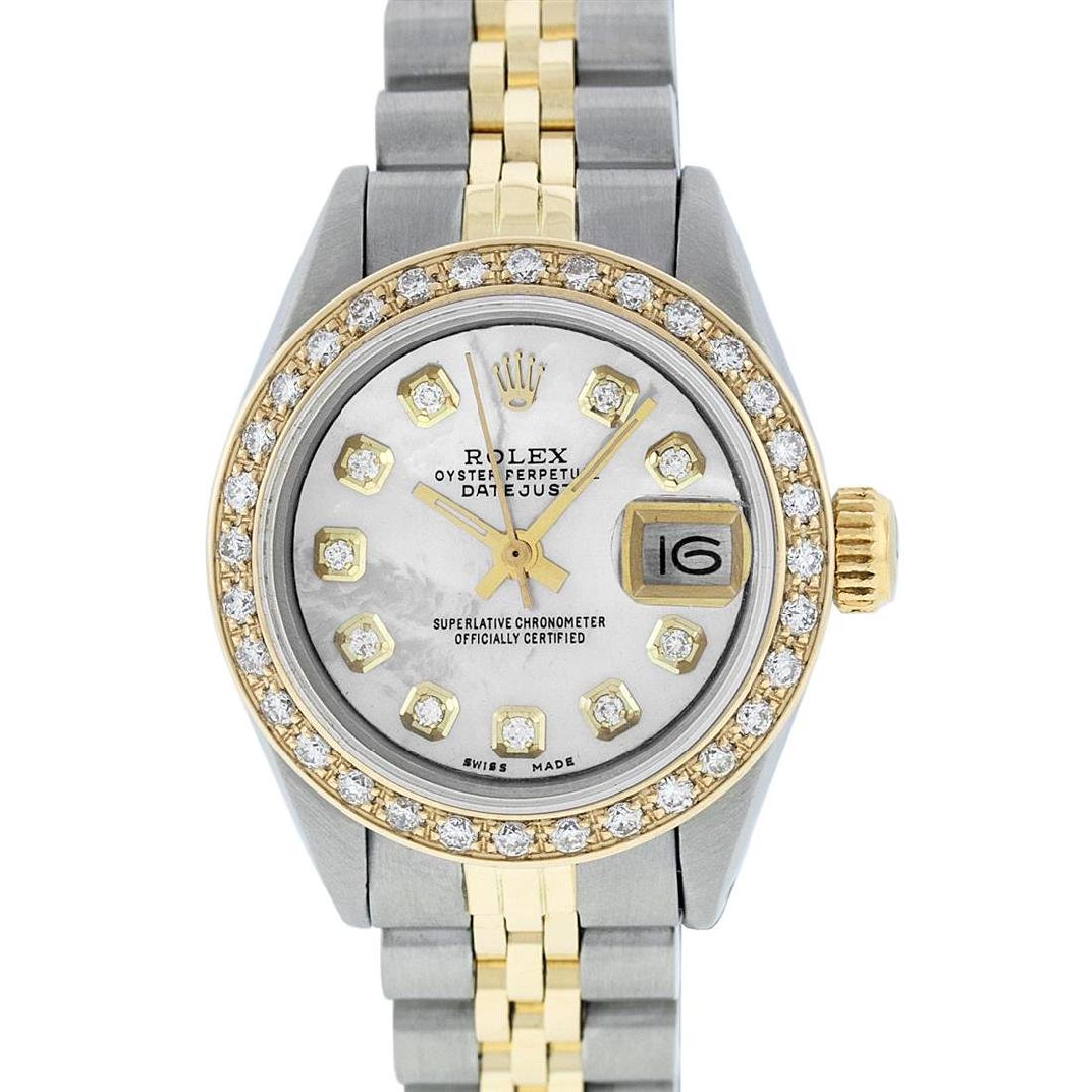 Rolex Ladies Two Tone 14K MOP Diamond Datejust Watch - 2