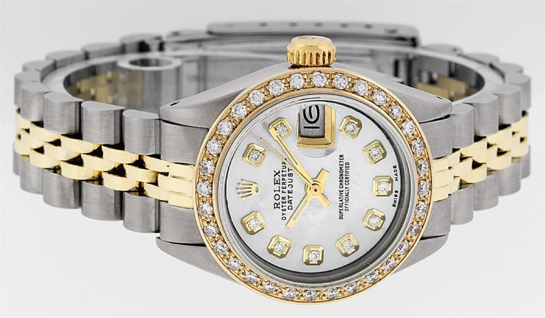 Rolex Ladies Two Tone 14K MOP Diamond Datejust Watch - 3