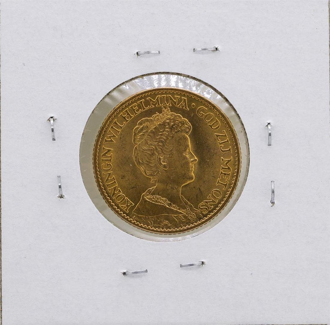 1913 Netherlands Queen Wilhelmina 10 Gulden Gold Coin