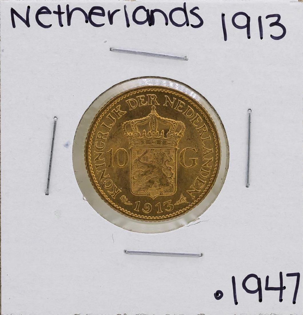 1913 Netherlands Queen Wilhelmina 10 Gulden Gold Coin - 2