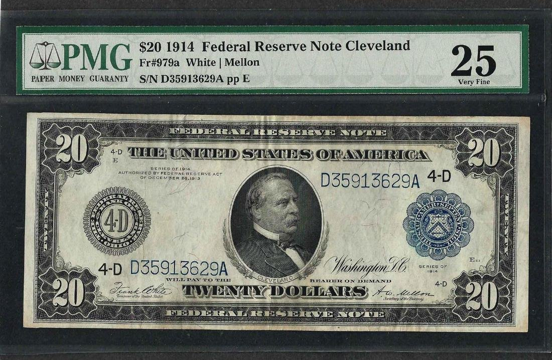 1914 $20 Federal Reserve Note Cleveland Fr.979a PMG