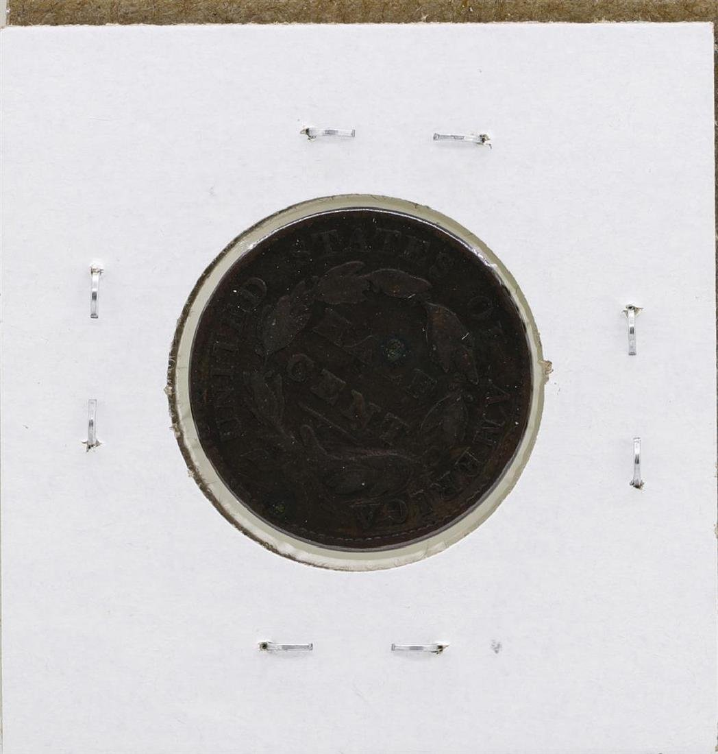 1828 Draped Bust Half Cent Coin - 2