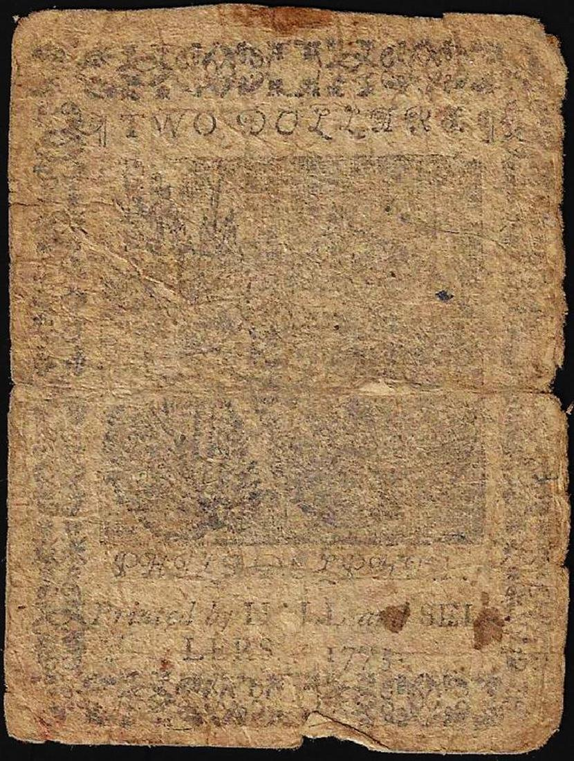 November 29, 1775 $2 Continental Currency Note - Split - 2