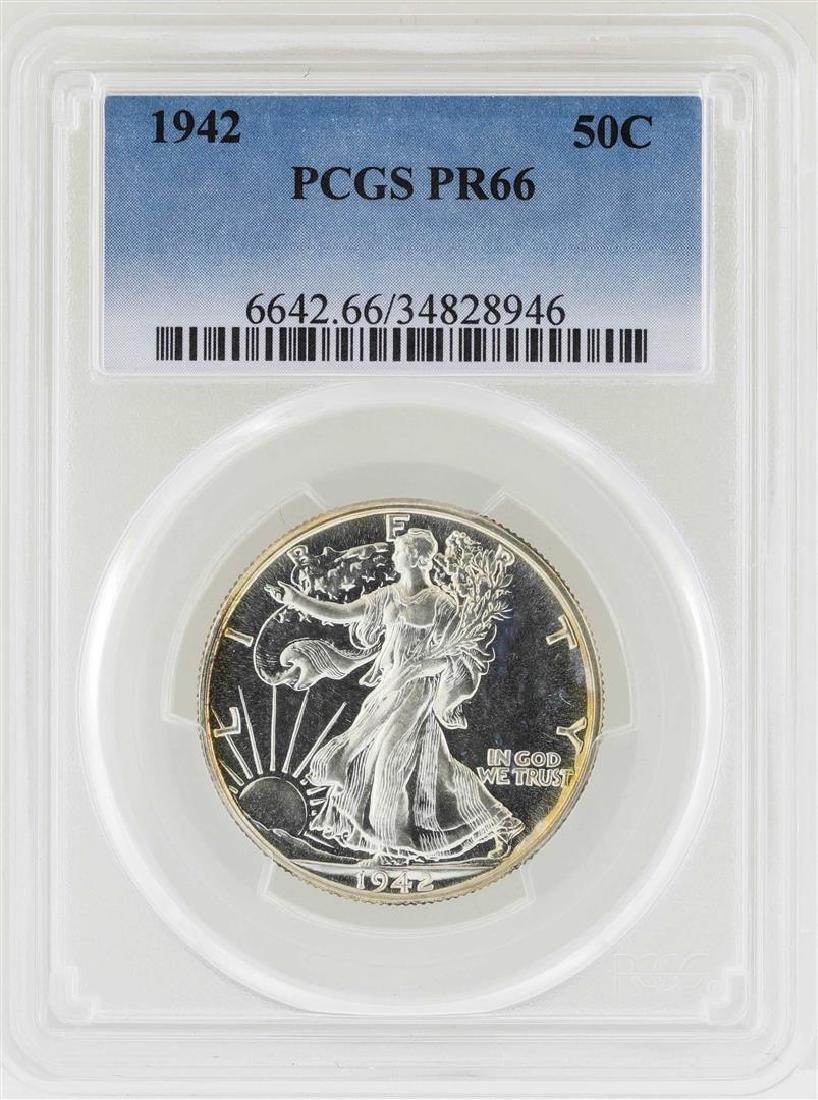 1942 Walking Liberty Half Dollar Proof Coin PCGS PR66