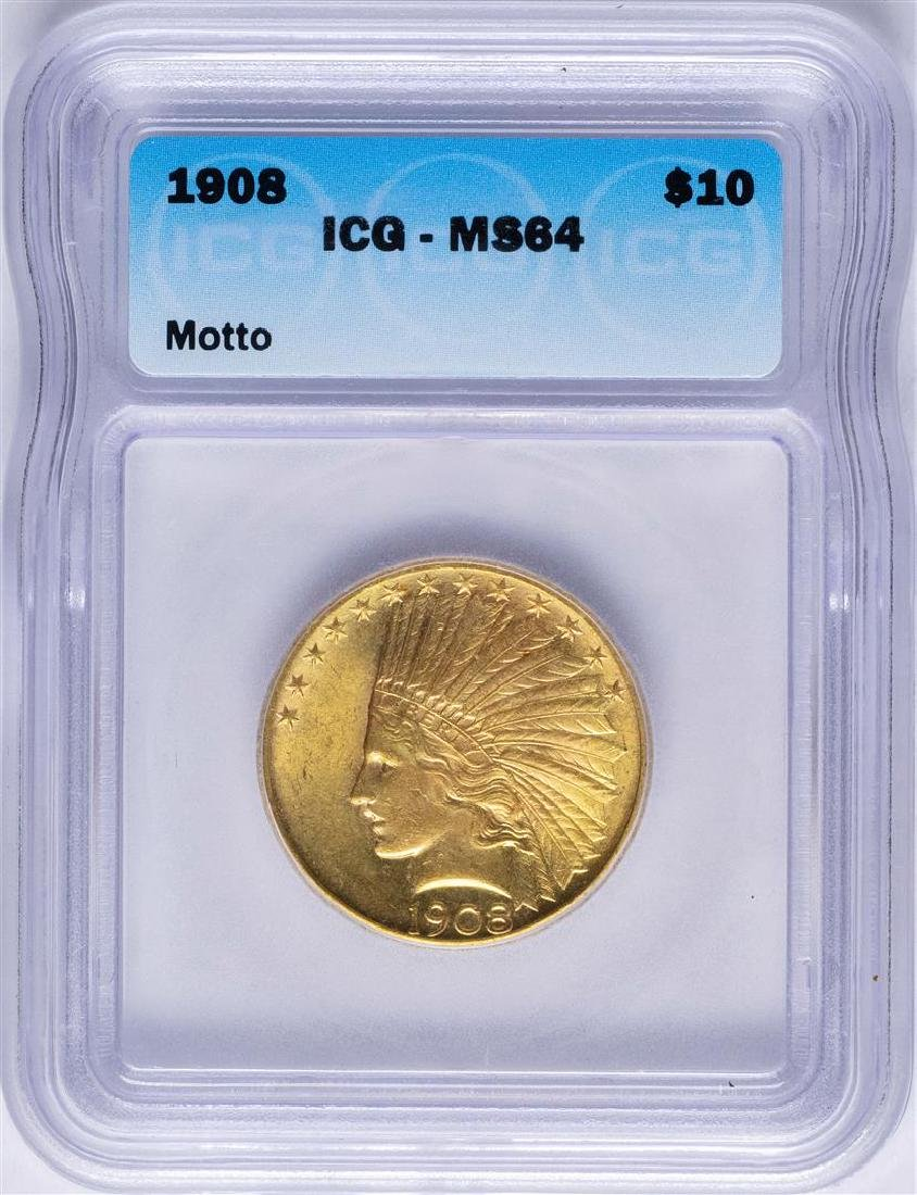 1908 with Motto $10 Indian Head Eagle Gold Coin ICG