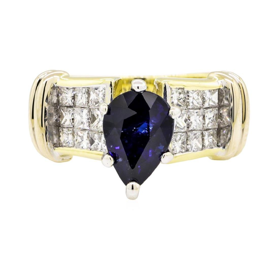 18KT Yellow Gold 2.20 ctw Sapphire and Diamond Ring - 2