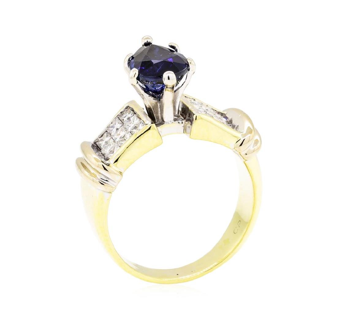 18KT Yellow Gold 2.20 ctw Sapphire and Diamond Ring - 4