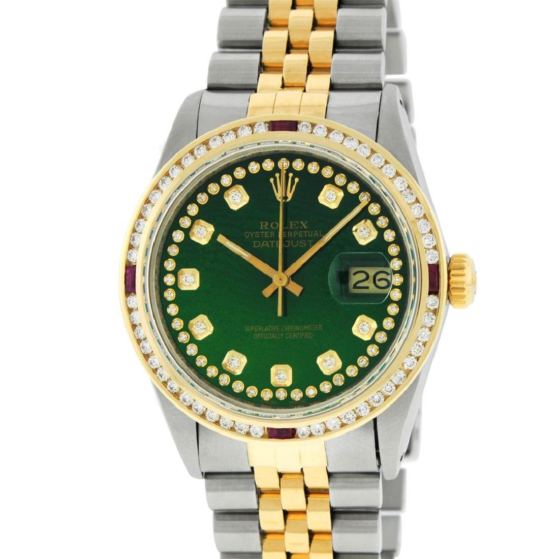 Rolex Men's Two Tone 14K Green String Diamond & Ruby - 2