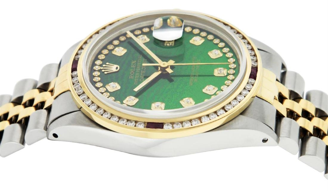 Rolex Men's Two Tone 14K Green String Diamond & Ruby - 4