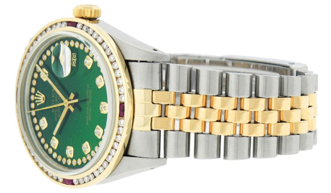 Rolex Men's Two Tone 14K Green String Diamond & Ruby - 5
