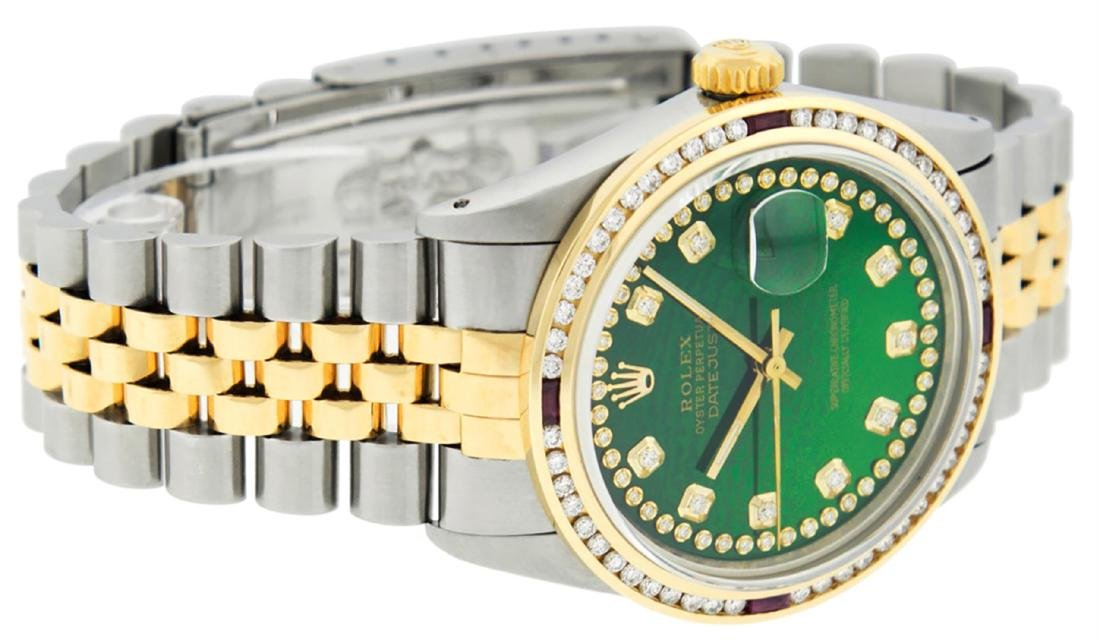 Rolex Men's Two Tone 14K Green String Diamond & Ruby - 6
