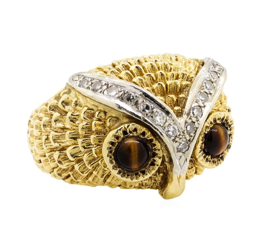 14KT Yellow Gold 0.65 ctw Tiger's Eye and Diamond Owl