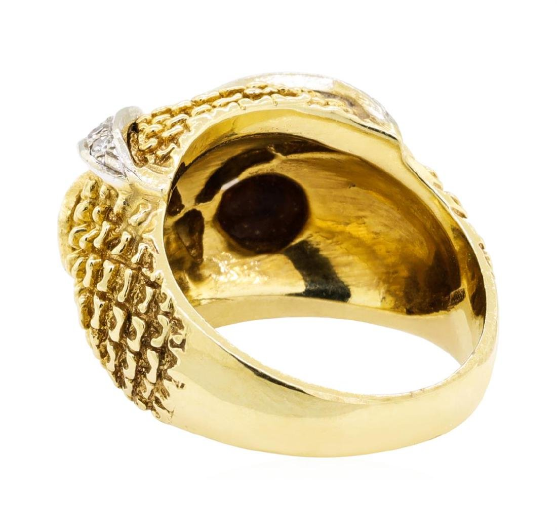 14KT Yellow Gold 0.65 ctw Tiger's Eye and Diamond Owl - 3