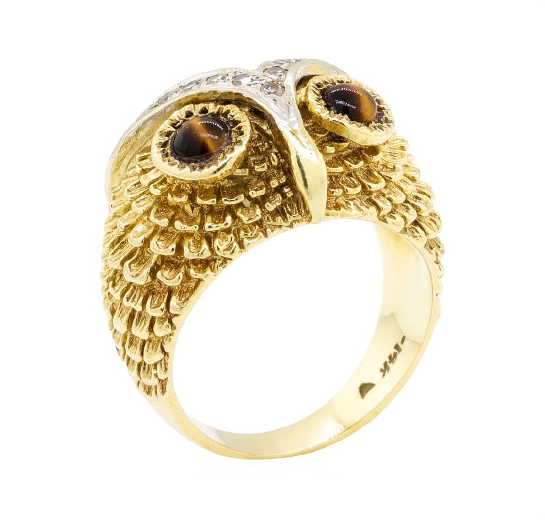 14KT Yellow Gold 0.65 ctw Tiger's Eye and Diamond Owl - 4