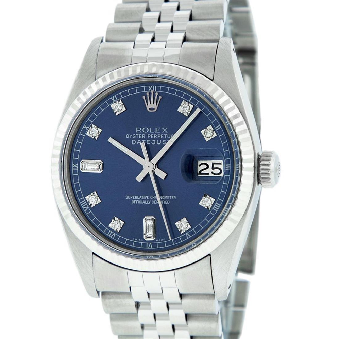 Rolex Men's Stainless Blue Diamond 36MM Datejust