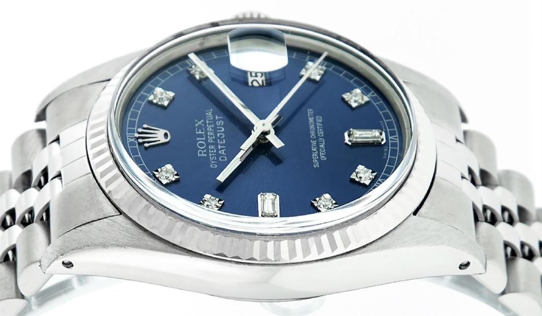 Rolex Men's Stainless Blue Diamond 36MM Datejust - 4