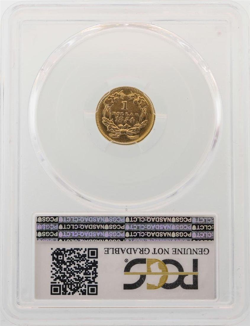 1854 $1 Indian Princess Head Gold Dollar Coin PCGS AU - 2