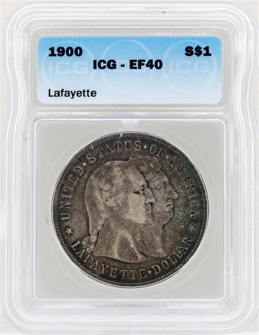 1900 $1 Lafayette Silver Dollar Commemorative Coin ICG
