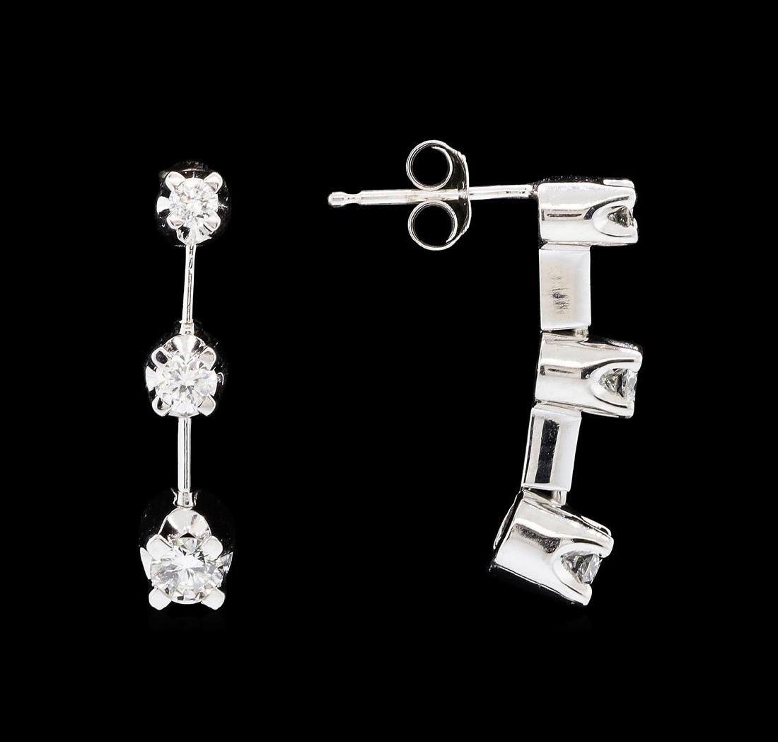 14KT White Gold 0.50 ctw Diamond Dangle Earrings - 2