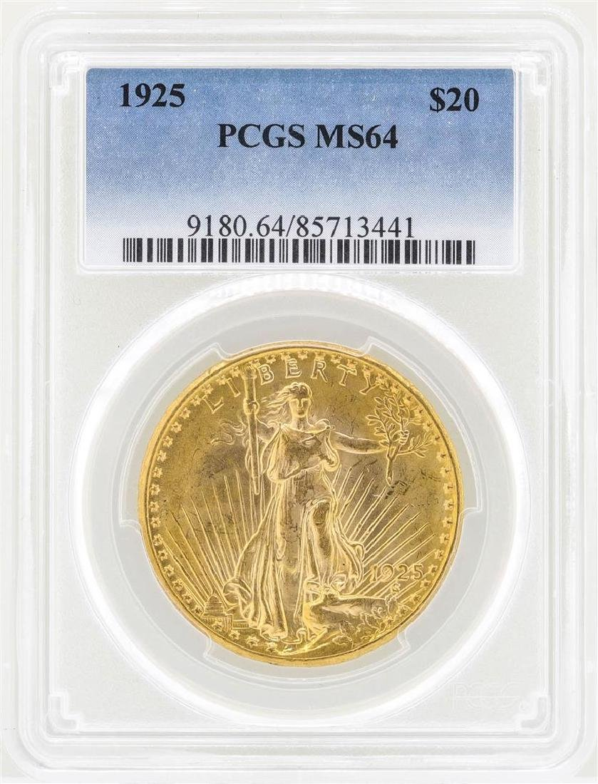 1925 $20 St. Gaudens Double Eagle Gold Coin PCGS MS64