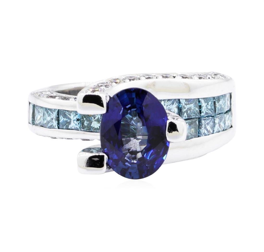 18KT White Gold 4.57 ctw Sapphire and Diamond Ring - 2