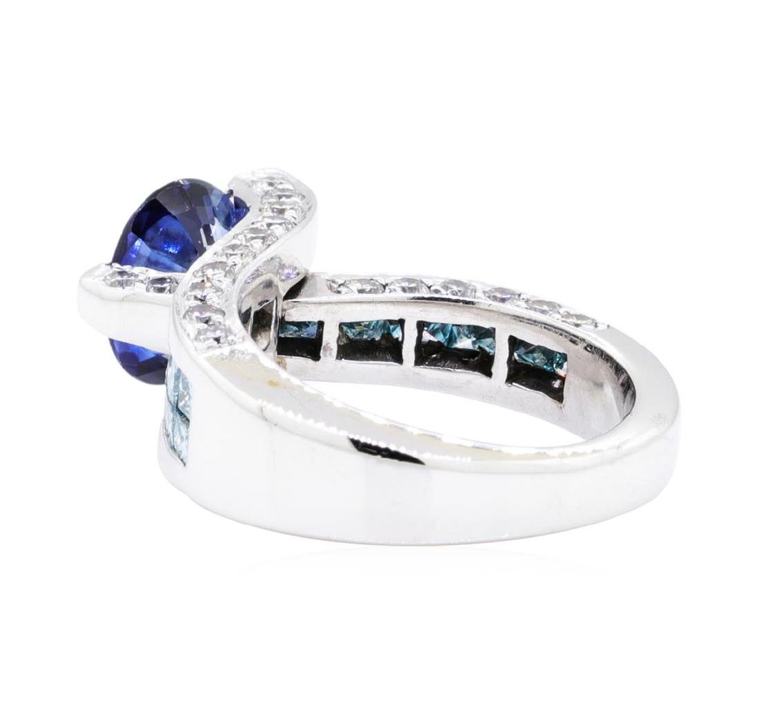 18KT White Gold 4.57 ctw Sapphire and Diamond Ring - 3