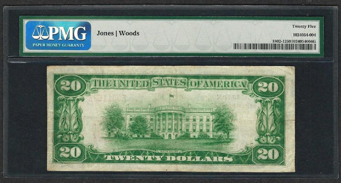 1929 $20 National Currency Note Lawrence, Massachusetts - 2