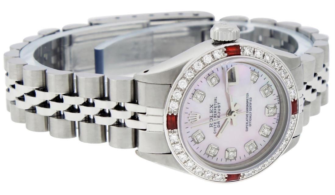 Rolex Ladies Stainless Steel Pink MOP Diamond & Ruby - 8