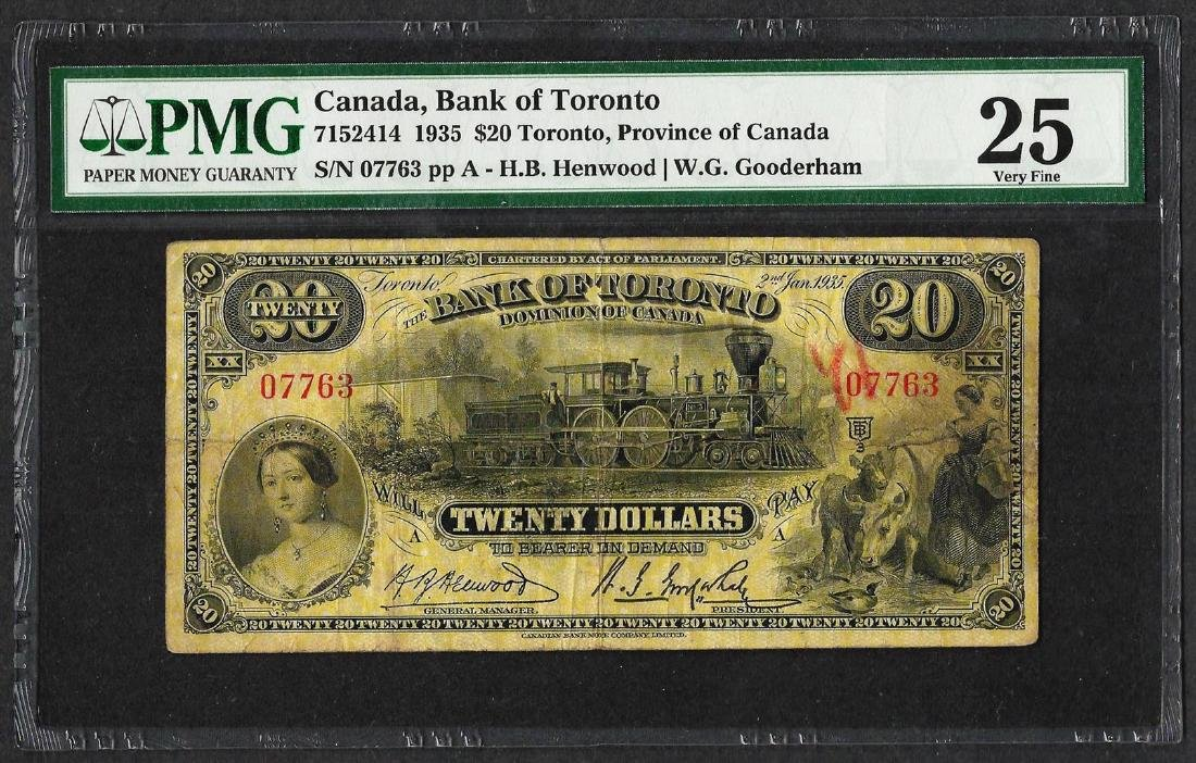 1935 $20 Bank of Toronto, Canada Note PMG Very Fine 25