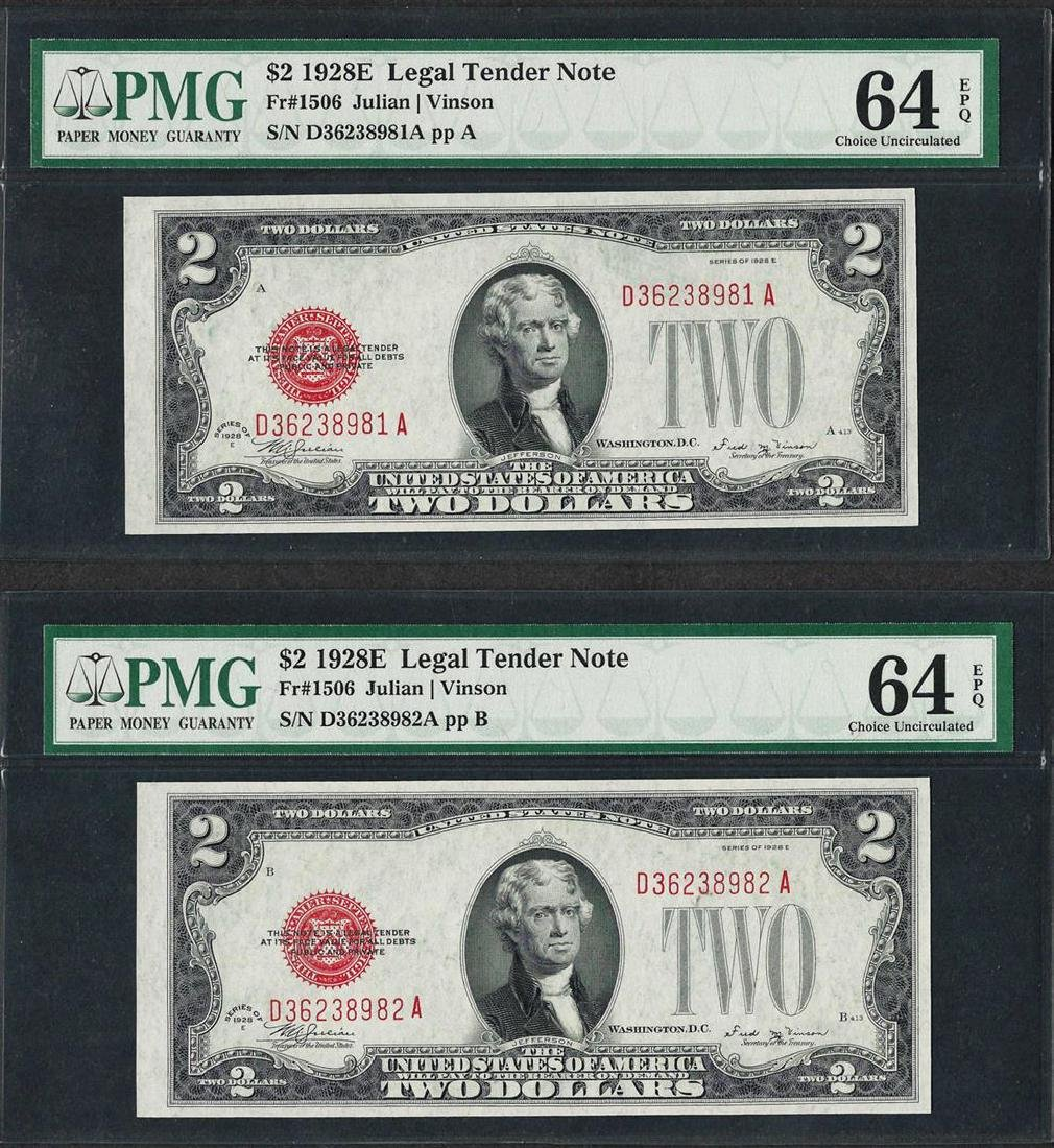 Lot of (2) Consecutive 1928E $2 Legal Tender Notes PMG