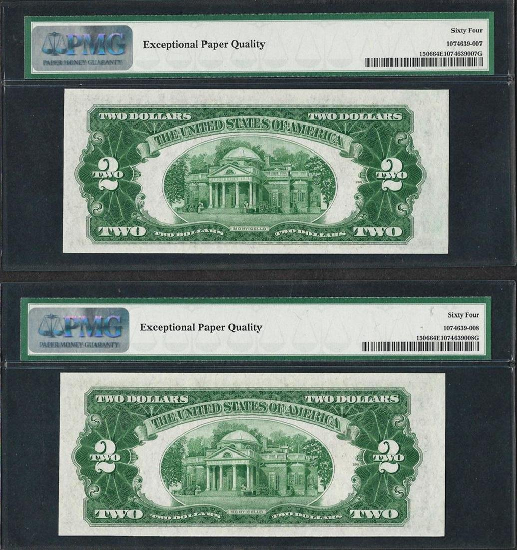 Lot of (2) Consecutive 1928E $2 Legal Tender Notes PMG - 2