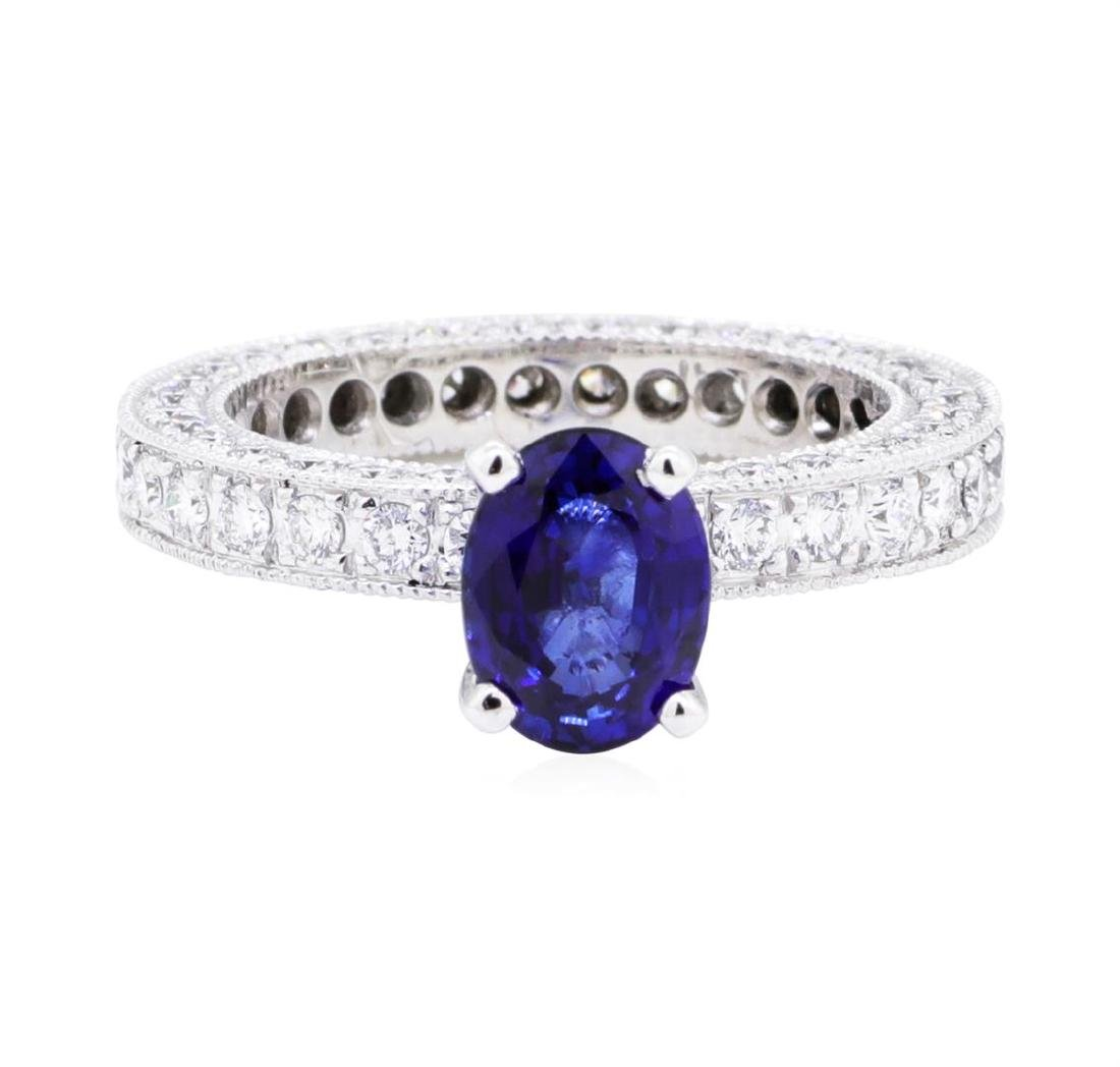Platinum 3.08 ctw Sapphire and Diamond Ring - 2