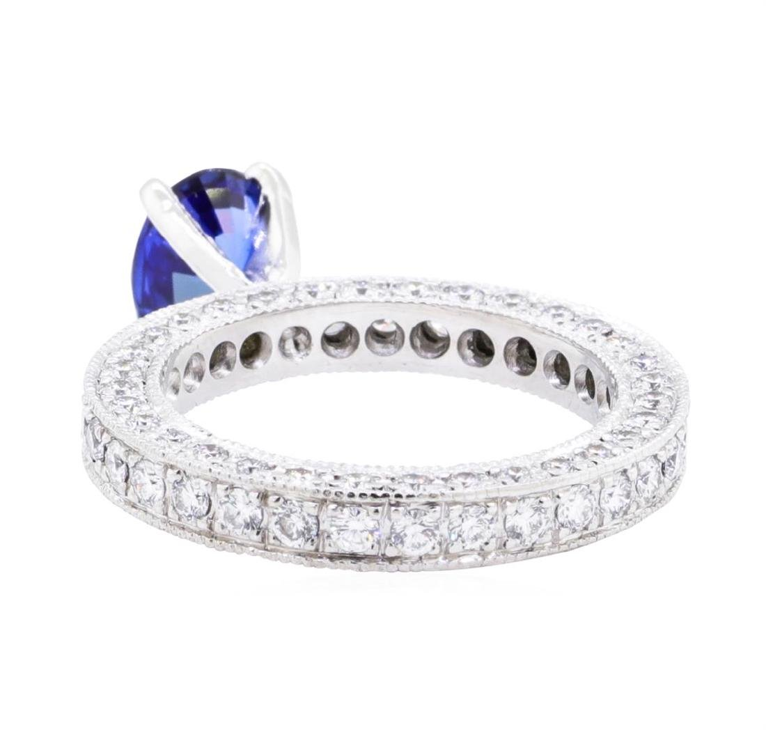 Platinum 3.08 ctw Sapphire and Diamond Ring - 3
